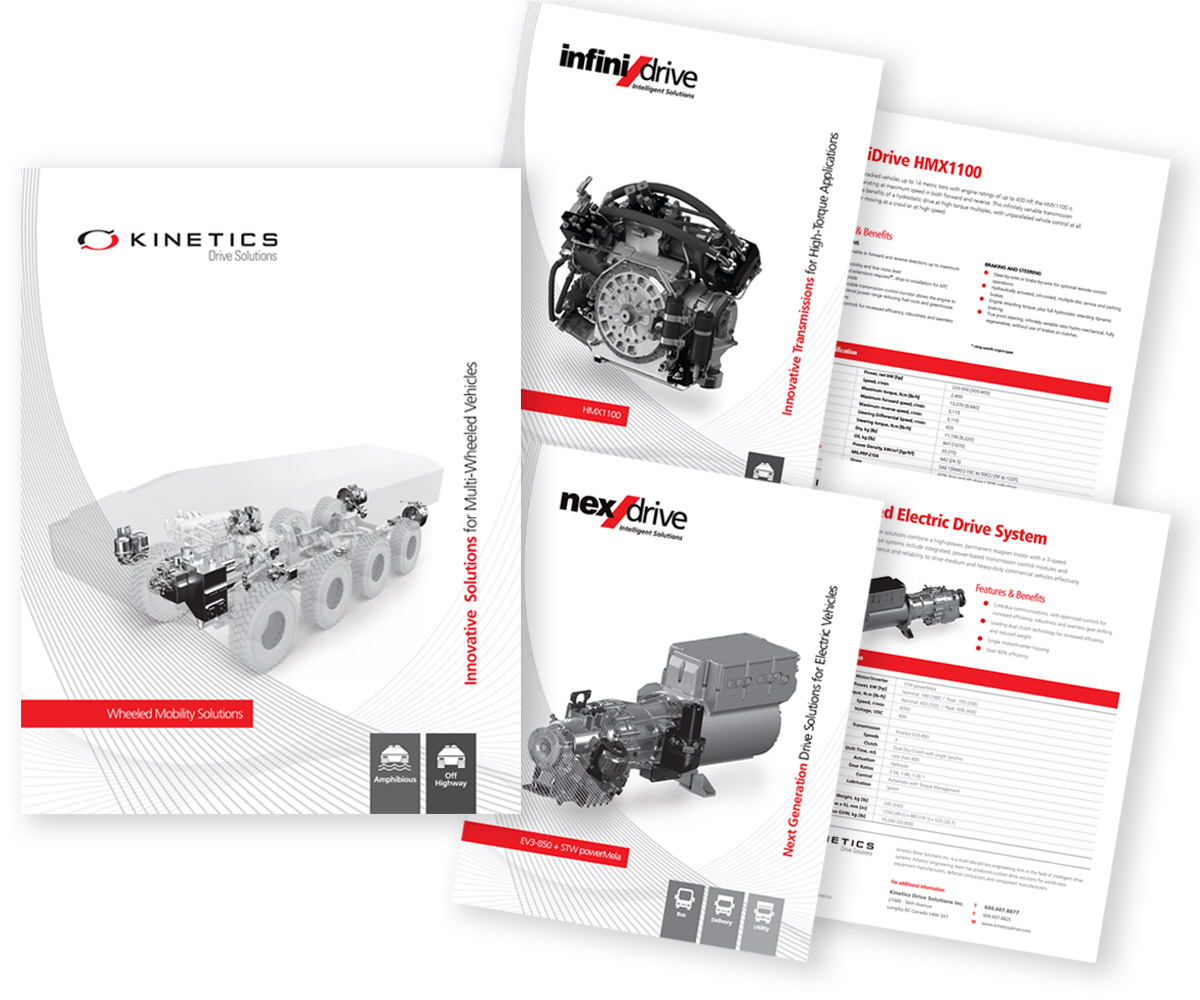 Kinetics Drive Solutions Product positioning with NexDrive and InfiniDrive logo design.
